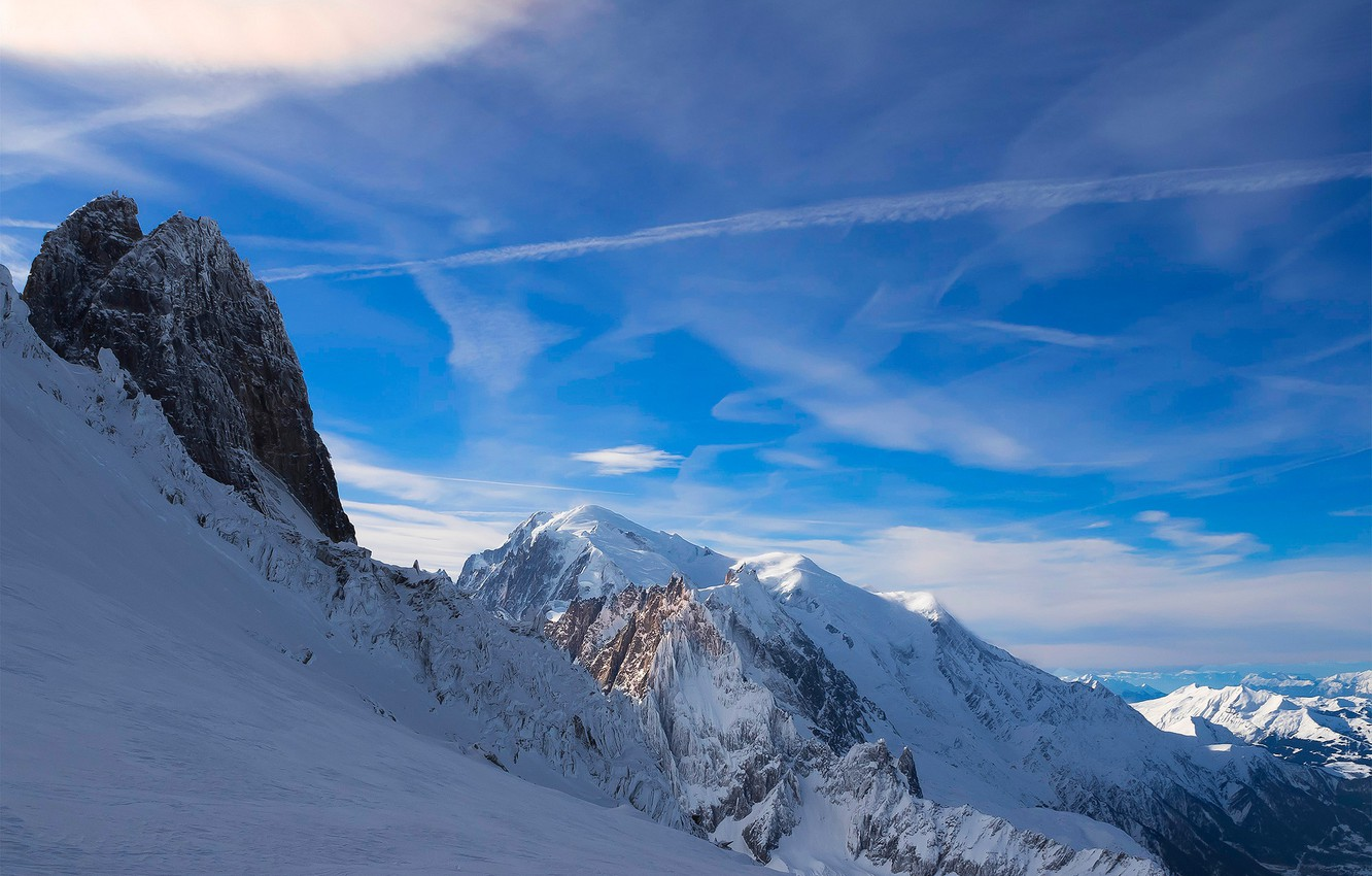 Photo wallpaper the sky, snow, mountains, France, Alps, France, Alps