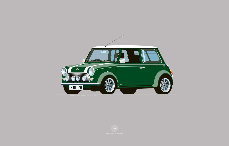 Photo wallpaper Auto, Mini, Cooper, Minimalism, Figure, Green, Machine, Mini Cooper, Art, Mini, Nik Schulz, B10CY8, B10 …