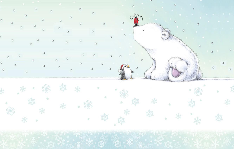Photo wallpaper gift, art, bear, New year, penguin, pole, cap, children's