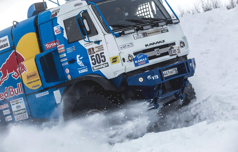 Photo wallpaper Winter, Snow, Truck, Master, Russia, Frost, Kamaz, Rally, KAMAZ, Power, Cold, RedBull, Master, The snow, …