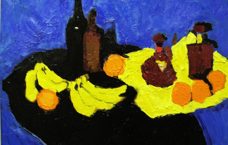 Photo wallpaper wine, oranges, bananas, still life, cognac, 2007, The petyaev