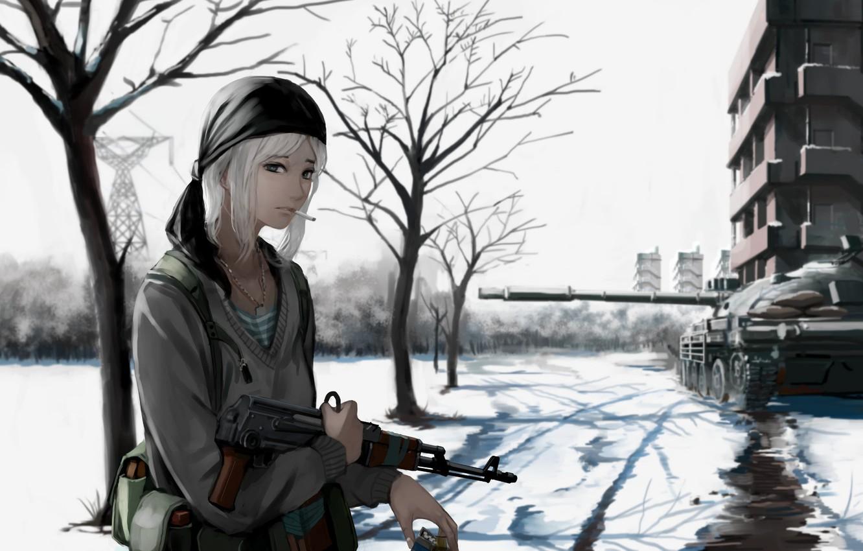Photo wallpaper girl, gun, weapon, war, anime, snow, blonde, rifle, tank, assault rifle, bishojo, AK 47