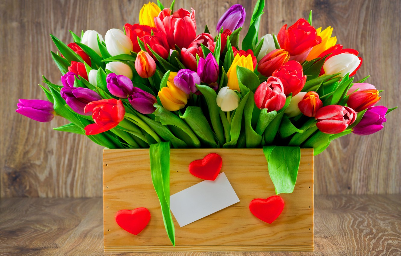 Photo wallpaper bouquet, colorful, tulips, love, fresh, wood, flowers, romantic, hearts, tulips, gift