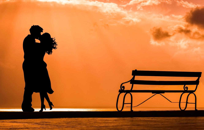 Photo wallpaper love, joy, meeting, kiss, silhouette, pair, date, bench
