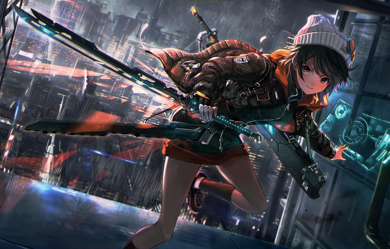 Photo wallpaper girl, weapons, runs