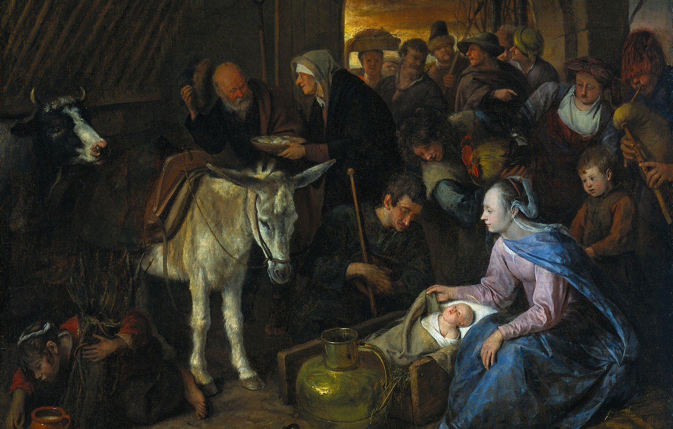 Photo wallpaper oil, picture, canvas, mythology, The Adoration Of The Shepherds, Ian Havickszoon Walls