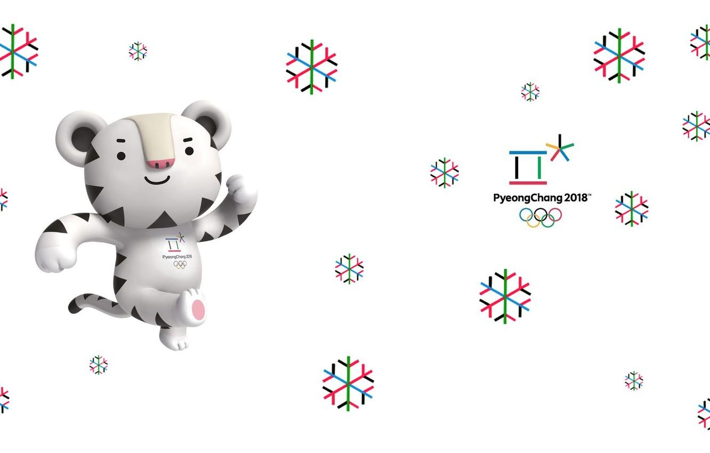 Photo wallpaper White tiger, Soohorang, Saharan, Talisman, Pyeongchang, Olympic game