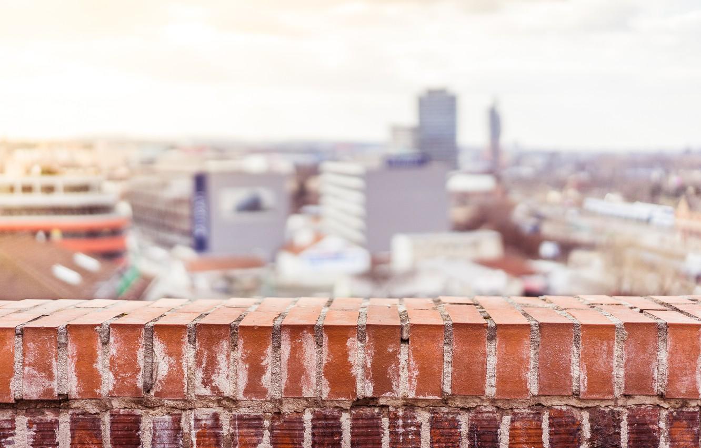 Photo wallpaper the city, street, brick, balcony