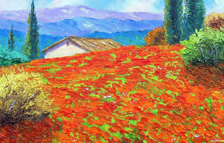 Photo wallpaper artist, house, impressionist, jean marc janiaczyk, art. field. Maki