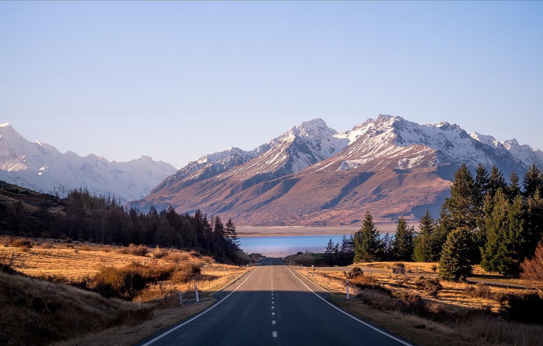 Photo wallpaper road, mountains, morning