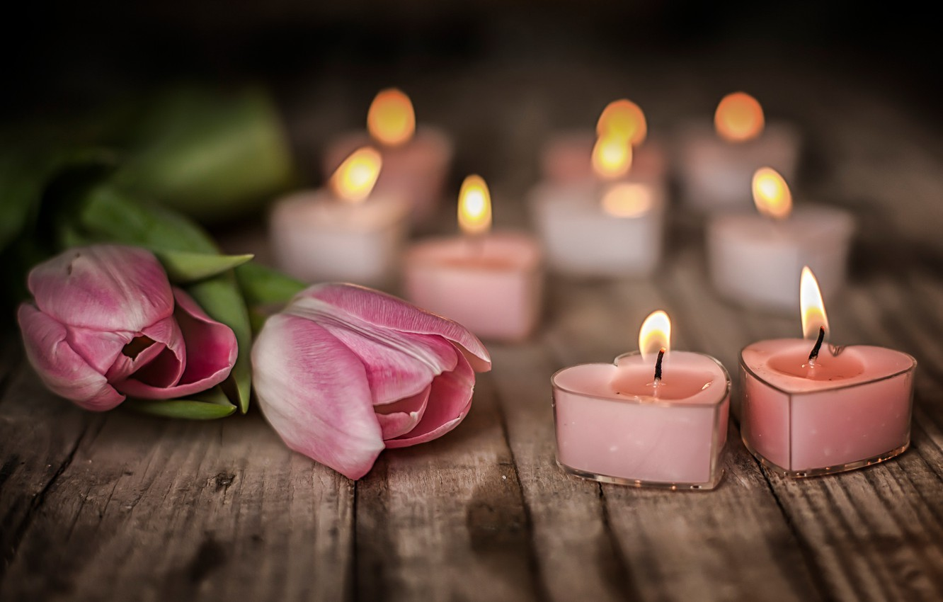 Photo wallpaper flowers, mood, Board, candles, tulips