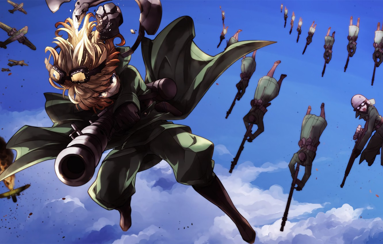 Photo wallpaper explosion, girl, soldiers, soldier, sky, aircraft, military, war, anime, cloud, fight, blonde, asian, manga, oriental, …