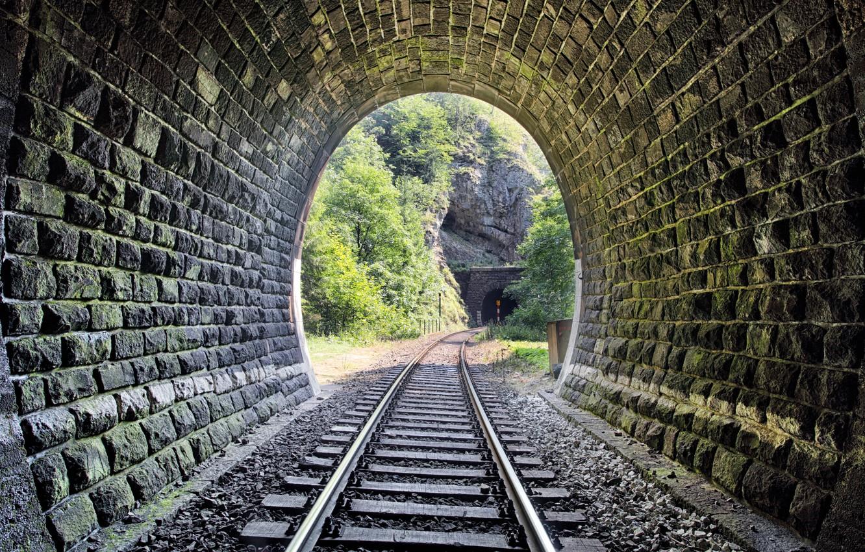 Photo wallpaper metal, wood, tunnel, stones, railway, Trees