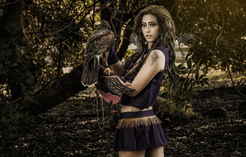 Photo wallpaper girl, background, bird