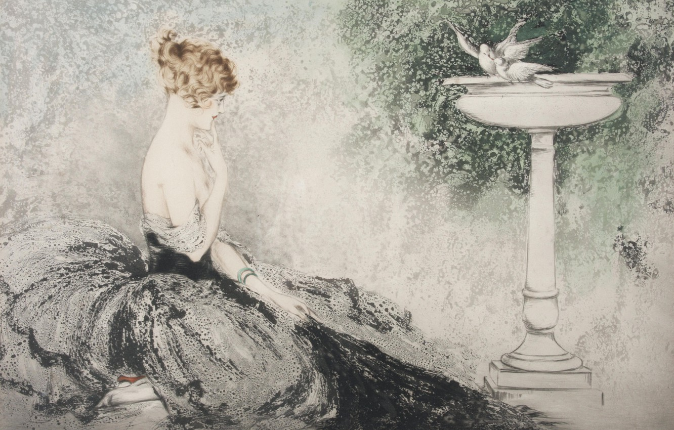 Photo wallpaper sink, Desire, white doves, 1924, Louis Icart, art Deco, etching and aquatint, redhead woman