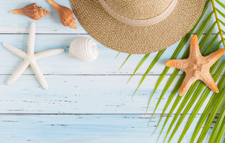 Photo wallpaper beach, summer, stay, star, vacation, hat, shell, summer, happy, beach, sand, vacation, starfish, seashells