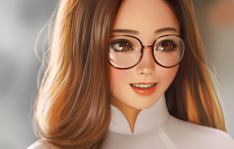 Photo wallpaper face, smile, glasses, long hair, art, portrait of a girl, LemonCat