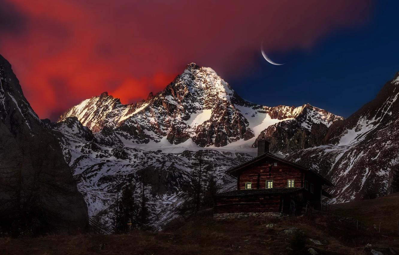Photo wallpaper Moon, Sky, Mountain, Austria, View, Peak