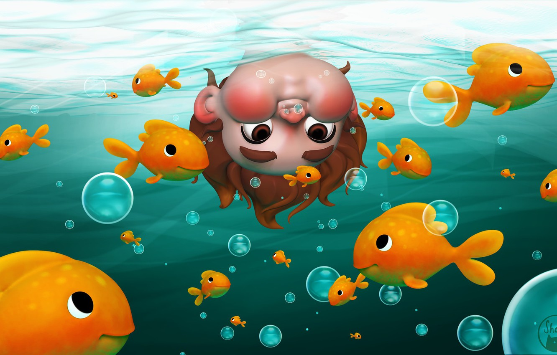 Photo wallpaper fish, mood, boy, art, curiosity, Underwater, children's, Shana Vandercruysse