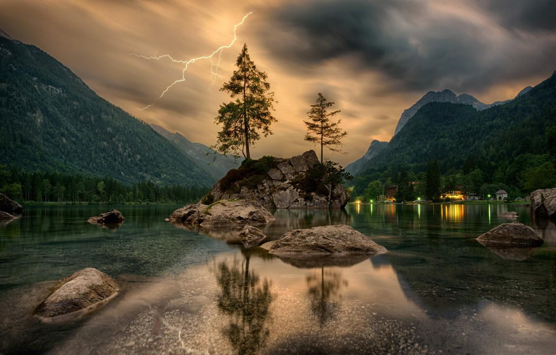 Photo wallpaper trees, mountains, rock, lightning