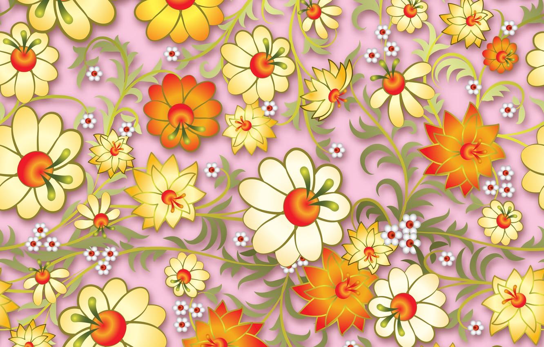 Photo wallpaper Flowers, pattern, pattern, seamless, Floral, seamless