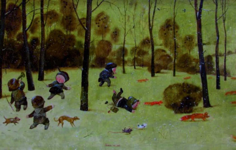 Photo wallpaper winter, dogs, Fox, Gapchinska, children play