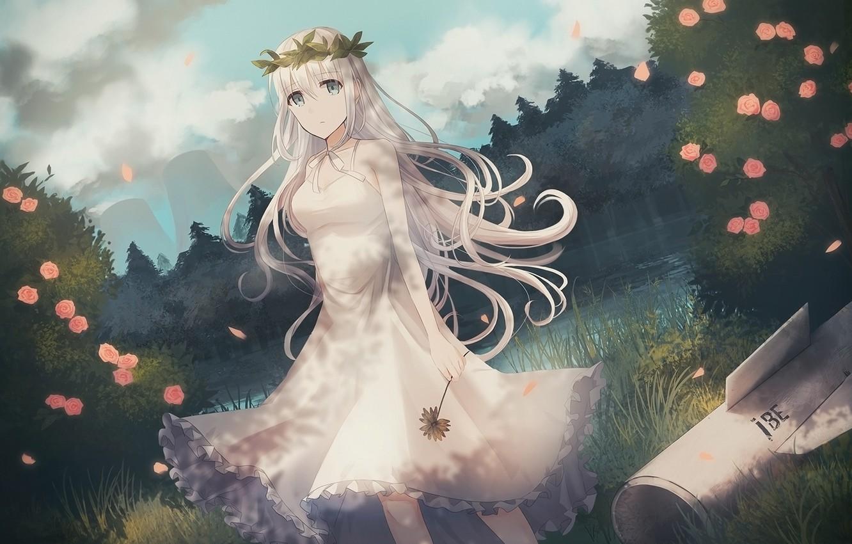 Photo wallpaper girl, flowers, anime, girl