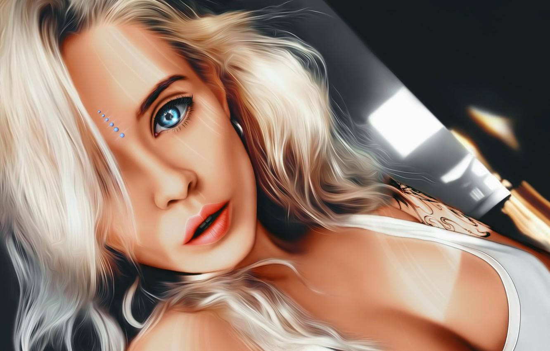 Photo wallpaper Girl, cleavage, art, blue eyes, tattoo, lips, face, painting, sensual, blonde, digital art, artwork, portrait, …
