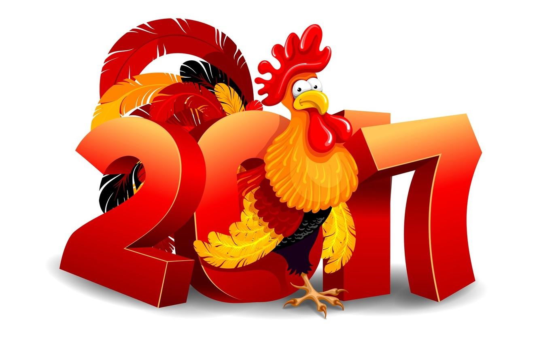 Photo wallpaper new year, figure, cock, 2017