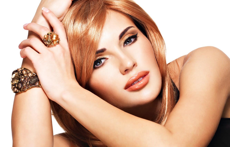 Photo wallpaper look, girl, model, makeup, ring, bracelet, decoration, red hair