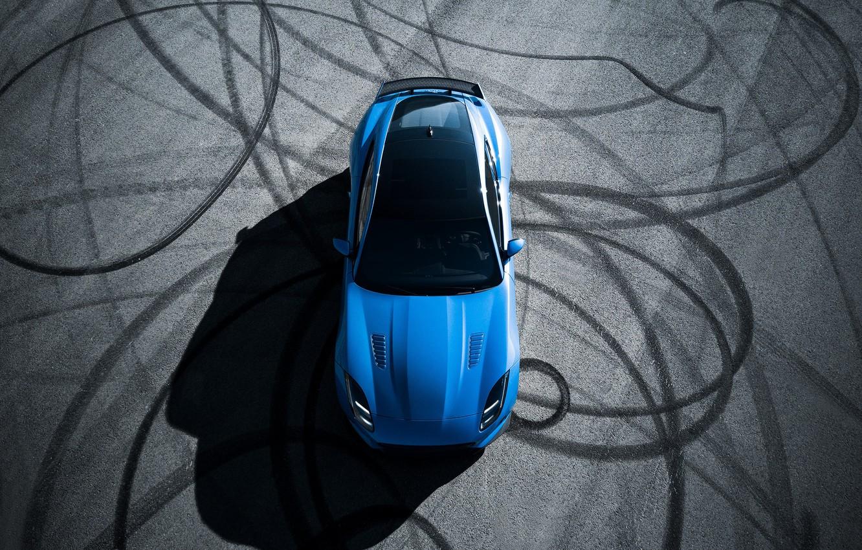 Photo wallpaper Jaguar, Blue, F-Type