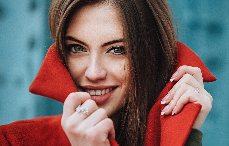 Photo wallpaper look, girl, face, smile, hair, portrait, hands, collar, Eugene Marklew, Vita Yakovenko
