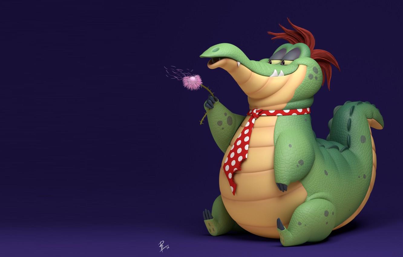 Photo wallpaper crocodile, children's, Ran - the Alligator, David Barrero, flower.