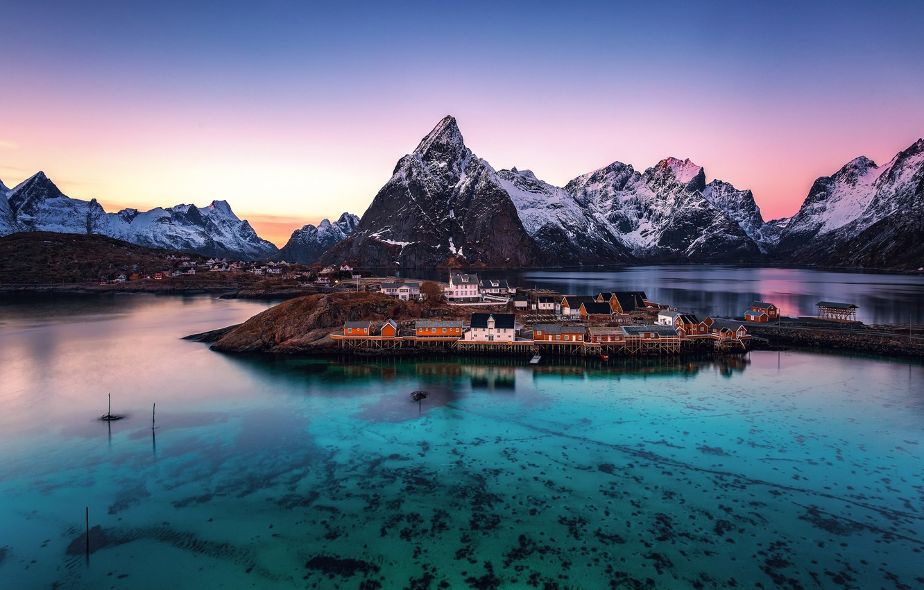 Photo wallpaper transparency, the evening, morning, Norway, town, the village, the fjord, The Lofoten Islands