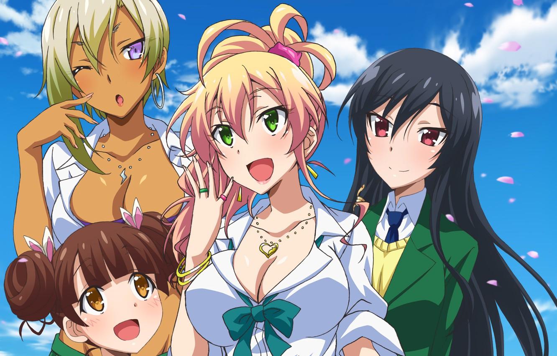 Photo wallpaper anime, pretty, blonde, friends, japanese, oppai, bishojo, seifuku, Hajimete no Gal, Gyaru, To Burning Yam, …