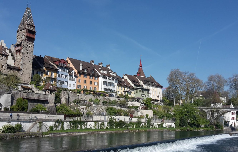 Photo wallpaper Switzerland, the Reuss river, the Canton of Aargau, the town of Bremgarten