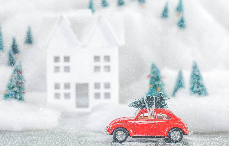 Photo wallpaper winter, snow, toy, tree, Volkswagen, Christmas, New year, tree, machine