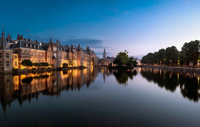 Photo wallpaper trees, lake, pond, reflection, building, Netherlands, Netherlands, The Hague, The Hague, Binnenhof, Binnenhof, Lake Hofvijver, …