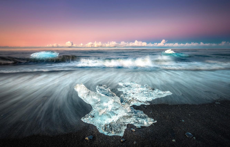Photo wallpaper the sky, shore, ice, tide