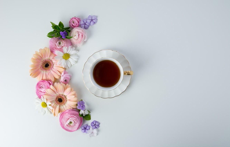 Photo wallpaper flowers, coffee, Cup, pink, flowers, cup, coffee, tender