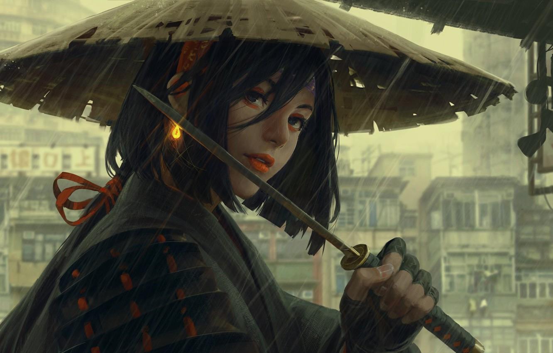 Photo wallpaper rain, hat, armor, Japan, art, arm, wakizashi, Guweiz, woman warrior, gray city