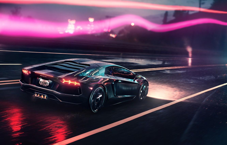 Photo wallpaper Auto, Road, Lamborghini, Neon, Machine, Background, Supercar, Electronic, Aventador, Lamborghini Aventador, Synthpop, Darkwave, Synth, Retrowave, …
