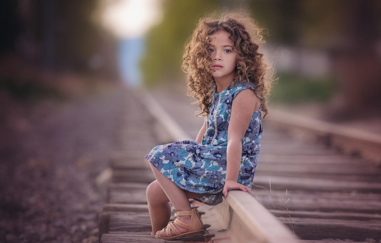 Photo wallpaper road, face, hair, rails, child, dress, girl, curls