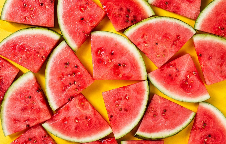 Photo wallpaper watermelon, yellow background, slices, yellow background, watermelon