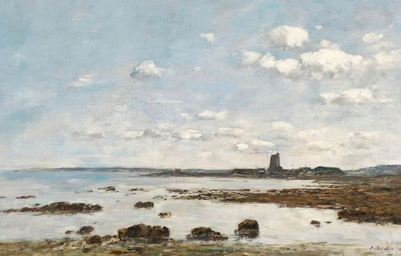Photo wallpaper landscape, picture, Eugene Boudin, Eugene Boudin, Saint-Vaast-La-Hougue. The rocks and the Fort