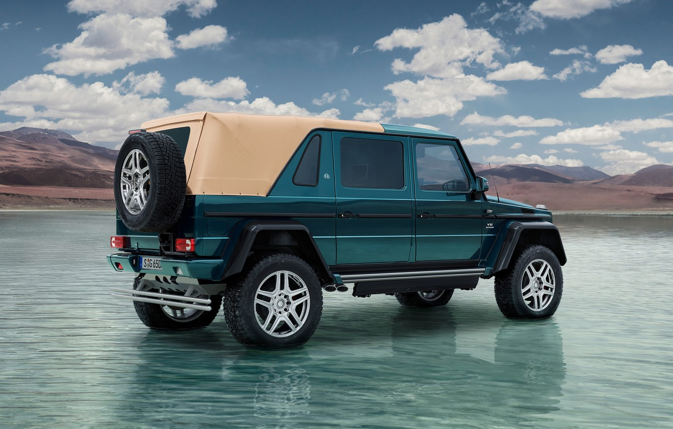 Photo wallpaper The sky, Clouds, Rear view, Mercedes-Maybach G 650 Landaulet, Water.