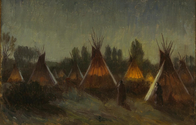 Photo wallpaper night, Joseph Henry Sharp, Taos, Shadows in the Night