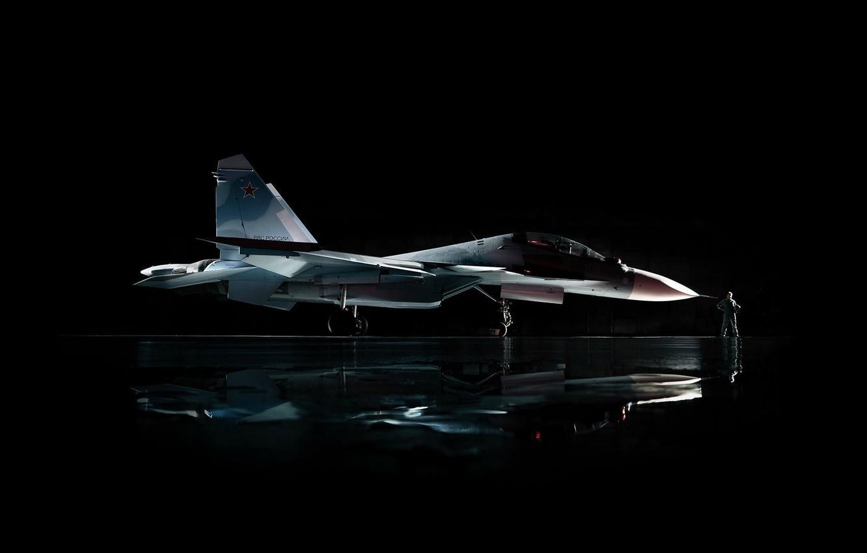Photo wallpaper star, fighter, aircraft, military, man, Sukhoi, aviation, air force, pilot, red star, hunter, Su-30CM, Sukhoi …