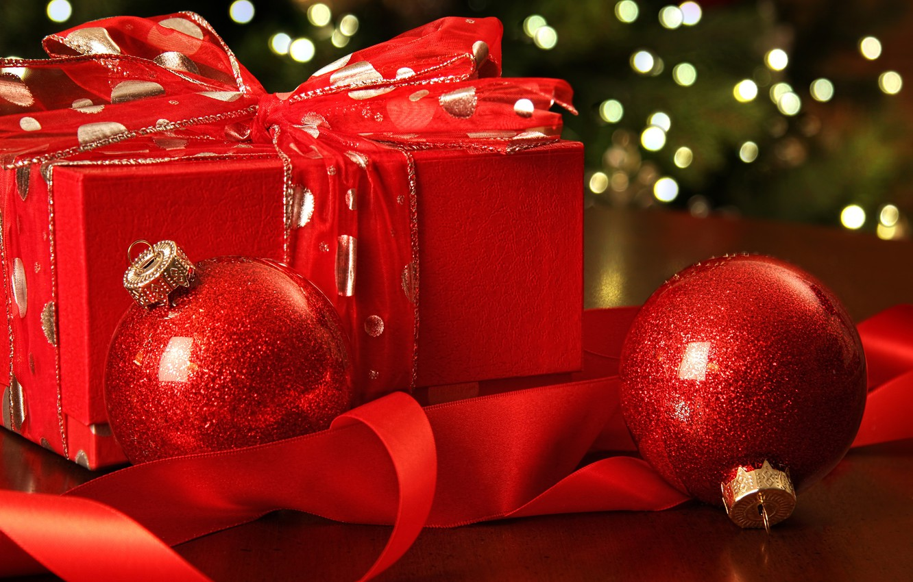 Photo wallpaper New Year, Christmas, red, balls, merry christmas, gift, decoration