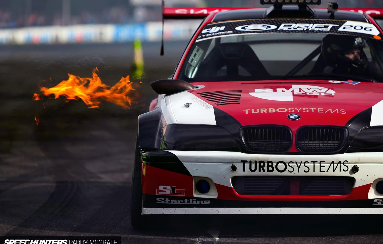 Photo wallpaper fire, race, sport, BMW, drift, track